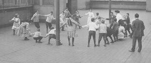 Vintage photo of kids playing together.